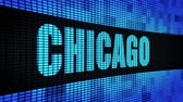Мичиган : CHICAGO Side Text Scrolling on Light Blue Digital LED Display Board Pixel Light Screen Looped Animation 4K Background. Sign Board , Blinking Light, Pixel Monitor . LED Wall Pannel Стоковые видеозаписи