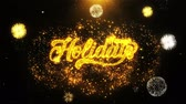 hálaadás : Happy Holidays Text Sparks Particles Reveal from Golden Firework Display explosion 4K. Greeting card, Celebration, Party Invitation, calendar, Gift, Events, Message, Holiday, Wishes Festival Stock mozgókép