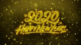 お祝いの : Happy New Year 2020 Greetings card Abstract Blinking Golden Sparkles Glitter Firework Particle Looped Background. Gift, card, Invitation, Celebration, Events, Message, Holiday, Festival
