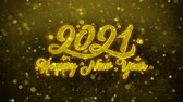 明けましておめでとうございます : New Year 2021 Greetings card Abstract Blinking Golden Sparkles Glitter Firework Particle Looped Background. Gift, card, Invitation, Celebration, Events, Message, Holiday, Festival 動画素材
