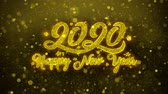desejando : Happy New Year 2020 Greetings card Abstract Blinking Golden Sparkles Glitter Firework Particle Looped Background. Gift, card, Invitation, Celebration, Events, Message, Holiday, Festival