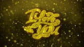 わたしは、あなたを愛しています : I Love You Greetings card Abstract Blinking Golden Sparkles Glitter Firework Particle Looped Background. Gift, card, Invitation, Celebration, Events, Message, Holiday, Festival