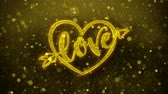 toujours : love heart Valentines day Greetings card Abstract Blinking Golden Sparkles Glitter Firework Particle Looped Background. Gift, card, Invitation, Celebration, Events, Message, Holiday, Festival Vidéos Libres De Droits