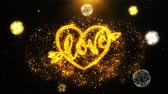 eu te amo : love heart Valentines day Text Sparks Particles Reveal from Golden Firework Display explosion 4K. Greeting card, Celebration, Gift, Events, Message, Holiday, Wishes Festival .