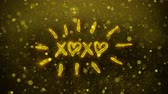 eu te amo : XOXO Valentines Day Greetings card Abstract Blinking Golden Sparkles Glitter Firework Particle Looped Background. Gift, card, Invitation, Celebration, Events, Message, Holiday, Festival