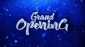 opening : Grand Opening Blue Text Greetings card Abstract Blinking Sparkle Glitter Particle Looped Background. Gift, card, Invitation, Celebration, Events, Message, Holiday Festival Stock Footage