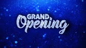 церемониальный : Grand Opening Blue Text Greetings card Abstract Blinking Sparkle Glitter Particle Looped Background. Gift, card, Invitation, Celebration, Events, Message, Holiday Festival Стоковые видеозаписи