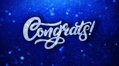 благодарность : Congrats Blue Greetings card Abstract Blinking Sparkle Glitter Particle Looped Background. Gift, card, Invitation, Celebration, Events, Message, Holiday Festival Стоковые видеозаписи