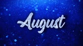 terminplaner : August Blue Text Greetings card Abstract Blinking Sparkle Glitter Particle Looped Background. Gift, card, Invitation, Celebration, Events, Message, Holiday Festival