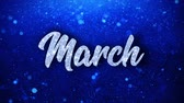 calandra : March Blue Text Greetings card Abstract Blinking Sparkle Glitter Particle Looped Background. Gift, card, Invitation, Celebration, Events, Message, Holiday Festival Vídeos