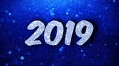 с Новым годом : 2019 New Year Greetings card Abstract Blinking Sparkle Glitter Particle Looped Background. Gift, card, Invitation, Celebration, Events, Message, Holiday Festival