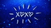 약혼 : xoxo Blue Text Greetings card Abstract Blinking Sparkle Glitter Particle Looped Background. Gift, card, Invitation, Celebration, Events, Message, Holiday Festival 무비클립