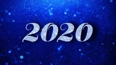 終わり : 2020 Happy New Year Blue Text Greetings card Abstract Blinking Sparkle Glitter Particle Looped Background. Gift, card, Invitation, Celebration, Events, Message, Holiday Festival