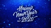 the end of the year : Happy New Year 2020 Blue Text Greetings card Abstract Blinking Sparkle Glitter Particle Looped Background. Gift, card, Invitation, Celebration, Events, Message, Holiday Festival