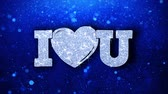 verjaardagskaartje : I Heart You Blue Text Greetings-kaart Abstract Knipperend Sparkle Glitter Particle Looped Background. Geschenk, kaart, uitnodiging, feest, evenementen, bericht, vakantiefestival