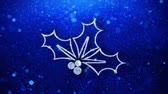 Christmas Holly Berry Element Icon Symbol Abstract Blinking Sparkle Glitter Particle Looped Background.
