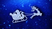 Christmas Ornament Reindeer Flying Jumping Icon Symbol Abstract Blinking Sparkle Glitter Particle Looped Background.