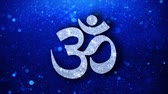religious symbols : Om or Aum Shiva Element Icon Symbol Abstract Blinking Sparkle Glitter Particle Looped Background. Gift, card, Events, Message, Holiday.