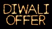 販売さ : Diwali Offer Text Sparkler Writing With Glitter Sparks Particles Firework on Black 4K Loop Background. Greeting card, Invitation, Celebration, Party, Gift, Message, Wishes, Festival.