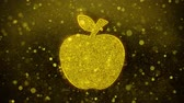 vitamíny : Apple Icon Golden Glitter Glowing Lights Shine Particles. Object, Shape, Web, Design, Element, symbol 4K Loop Animation.