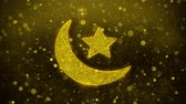 quran : Eid Islamic Icon Golden Glitter Glowing Lights Shine Particles. Object, Shape, Web, Design, Element, symbol 4K Loop Animation.