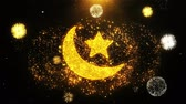 quran : Eid Islamic Icon on Firework Display Explosion Particles. Object, Shape, Text, Design, Element, Symbol 4K Animation.
