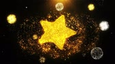 ohodnocení : Star Icon on Firework Display Explosion Particles. Object, Shape, Text, Design, Element, Symbol 4K Animation.