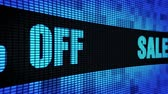 неделя : Sale 60% Percent Off Side Text Scrolling on Light Blue Digital LED Display Board Pixel Light Screen Looped Animation 4K Background. Sign Board , Blinking Light, Pixel Monitor, LED Wall Pannel Стоковые видеозаписи