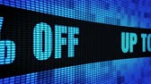неделя : Up To 30% Percent Off Side Text Scrolling on Light Blue Digital LED Display Board Pixel Light Screen Looped Animation 4K Background. Sign Board , Blinking Light, Pixel Monitor, LED Wall Pannel