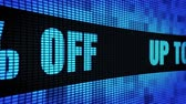 неделя : Up To 50% Percent Off Side Text Scrolling on Light Blue Digital LED Display Board Pixel Light Screen Looped Animation 4K Background. Sign Board , Blinking Light, Pixel Monitor, LED Wall Pannel