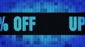 Up To 45% Percent Off Front Text Scrolling on Light Blue Digital LED Display Board Pixel Light Screen Looped Animation 4K Background. Sign Board , Blinking Light, Pixel Monitor, LED Wall Pannel