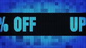 Up To 10% Percent Off Front Text Scrolling on Light Blue Digital LED Display Board Pixel Light Screen Looped Animation 4K Background. Sign Board , Blinking Light, Pixel Monitor, LED Wall Pannel
