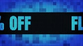 Flat 30% Percent Off Front Text Scrolling on Light Blue Digital LED Display Board Pixel Light Screen Looped Animation 4K Background. Sign Board , Blinking Light, Pixel Monitor, LED Wall Pannel