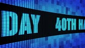 verjaardagskaartje : 40th Happy Birthday Side Text Scrolling on Light Blue Digital LED Display Board Pixel Light Screen Looped Animation 4K Background. Sign Board , Blinking Light, Pixel Monitor, LED Wall Pannel