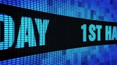 uitnodiging verjaardag : 1st Happy Birthday Side Text Scrolling on Light Blue Digital LED Display Board Pixel Light Screen Looped Animation 4K Background. Sign Board , Blinking Light, Pixel Monitor, LED Wall Pannel