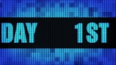 gelukkige verjaardag : 1st Happy Birthday Front Text Scrolling on Light Blue Digital LED Display Board Pixel Light Screen Looped Animation 4K Background. Sign Board , Blinking Light, Pixel Monitor, LED Wall Pannel Stockvideo