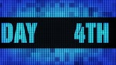 4th Happy Birthday Front Text Scrolling on Light Blue Digital LED Display Board Pixel Light Screen Looped Animation 4K Background. Sign Board , Blinking Light, Pixel Monitor, LED Wall Pannel Vídeos