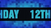 gelukkige verjaardag : 12th Happy Birthday Front Text Scrolling on Light Blue Digital LED Display Board Pixel Light Screen Looped Animation 4K Background. Sign Board , Blinking Light, Pixel Monitor, LED Wall Pannel