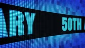 50th Anniversary Side Text Scrolling on Light Blue Digital LED Display Board Pixel Light Screen Looped Animation 4K Background. Sign Board , Blinking Light, Pixel Monitor, LED Wall Pannel