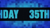 35th Happy Birthday Front Text Scrolling on Light Blue Digital LED Display Board Pixel Light Screen Looped Animation 4K Background. Sign Board , Blinking Light, Pixel Monitor, LED Wall Pannel Vídeos
