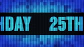 25th Happy Birthday Front Text Scrolling on Light Blue Digital LED Display Board Pixel Light Screen Looped Animation 4K Background. Sign Board , Blinking Light, Pixel Monitor, LED Wall Pannel