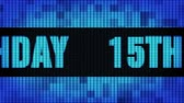 15th Happy Birthday Front Text Scrolling on Light Blue Digital LED Display Board Pixel Light Screen Looped Animation 4K Background. Sign Board , Blinking Light, Pixel Monitor, LED Wall Pannel