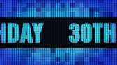 giftcard : 30th Happy Birthday Front Text Scrolling on Light Blue Digital LED Display Board Pixel Light Screen Looped Animation 4K Background. Sign Board , Blinking Light, Pixel Monitor, LED Wall Pannel