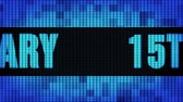 gelukkige verjaardag : 15th Anniversary Front Text Scrolling on Light Blue Digital LED Display Board Pixel Light Screen Looped Animation 4K Background. Sign Board , Blinking Light, Pixel Monitor, LED Wall Pannel