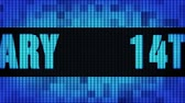 14th Anniversary Front Text Scrolling on Light Blue Digital LED Display Board Pixel Light Screen Looped Animation 4K Background. Sign Board , Blinking Light, Pixel Monitor, LED Wall Pannel Vídeos