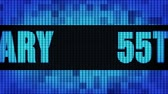 55th Anniversary Front Text Scrolling on Light Blue Digital LED Display Board Pixel Light Screen Looped Animation 4K Background. Sign Board , Blinking Light, Pixel Monitor, LED Wall Pannel