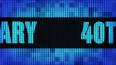 40th Anniversary Front Text Scrolling on Light Blue Digital LED Display Board Pixel Light Screen Looped Animation 4K Background. Sign Board , Blinking Light, Pixel Monitor, LED Wall Pannel