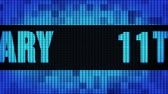 11th Anniversary Front Text Scrolling on Light Blue Digital LED Display Board Pixel Light Screen Looped Animation 4K Background. Sign Board , Blinking Light, Pixel Monitor, LED Wall Pannel