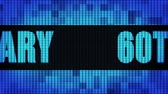 60th Anniversary Front Text Scrolling on Light Blue Digital LED Display Board Pixel Light Screen Looped Animation 4K Background. Sign Board , Blinking Light, Pixel Monitor, LED Wall Pannel