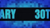 30th Anniversary Front Text Scrolling on Light Blue Digital LED Display Board Pixel Light Screen Looped Animation 4K Background. Sign Board , Blinking Light, Pixel Monitor, LED Wall Pannel